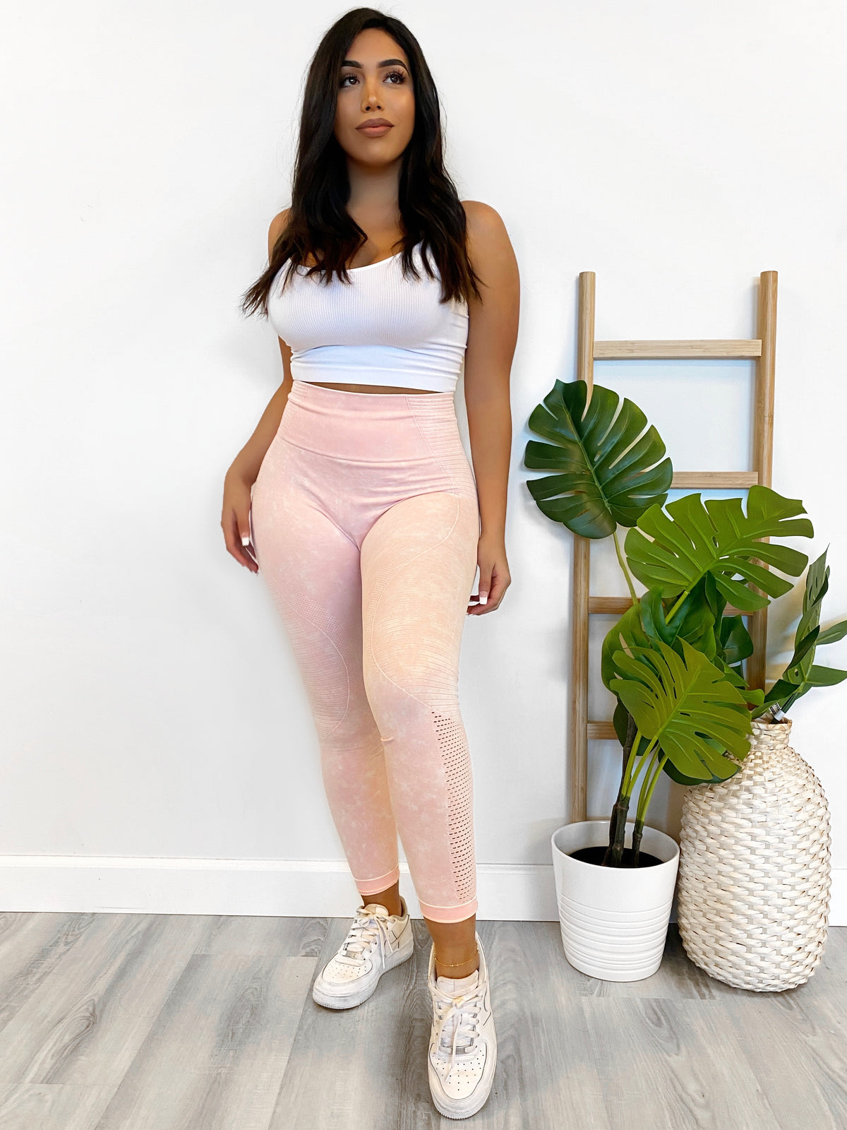 peach leggings, high waist, acid wash