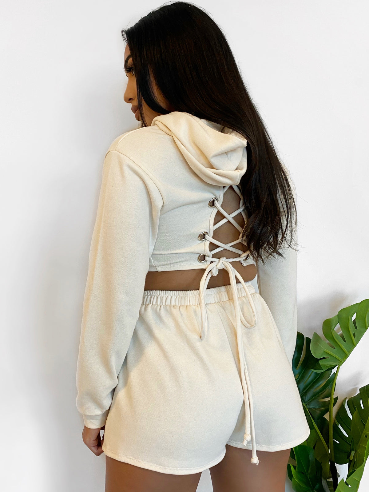 ivory 2 piece set, crop hoodie, criss-cross back, high waist sweat shorts