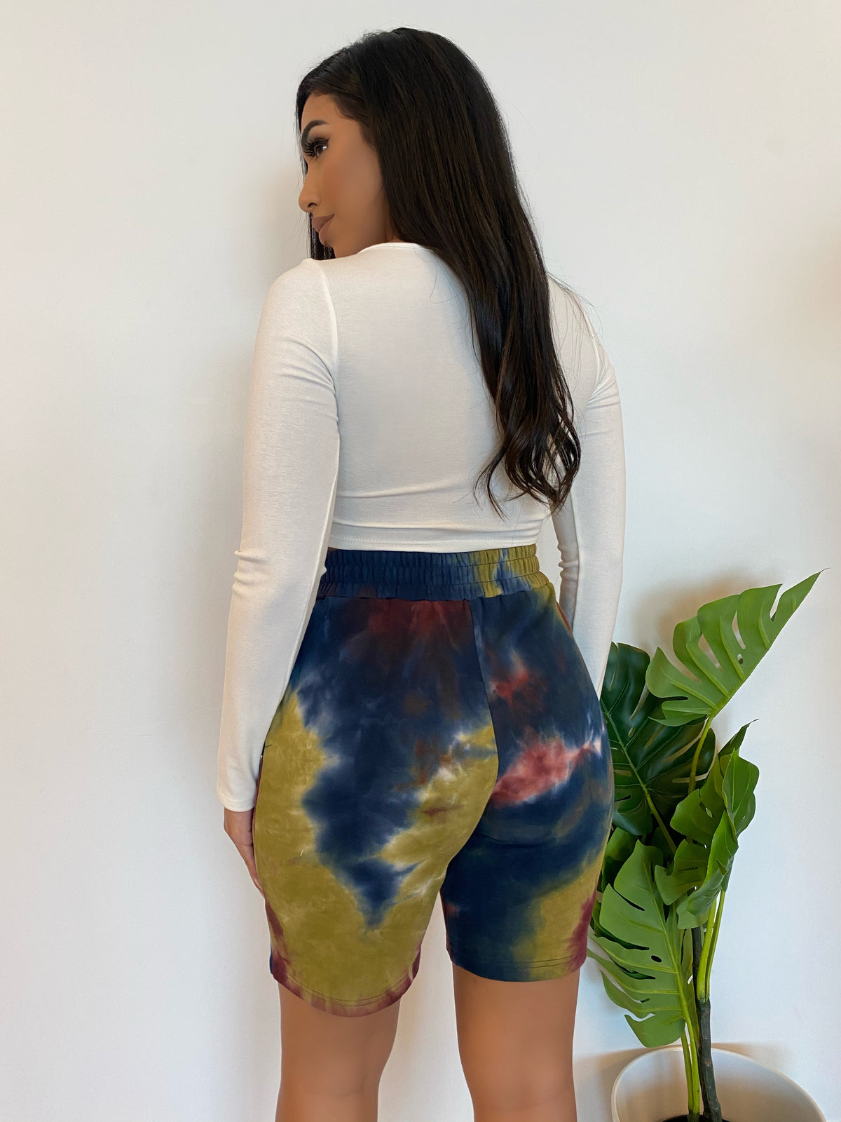 grey tie dye shorts, above the knee length, high waist, 2 front pockets