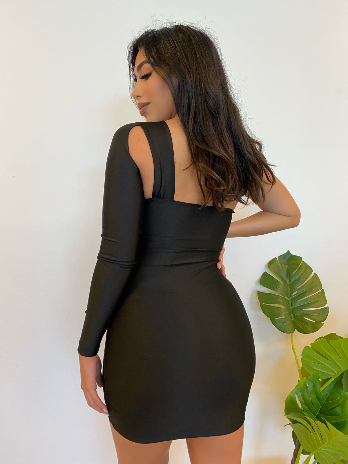 satin black dress, one shoulder dress, long sleeve, cut out, cleavage, mid thigh length