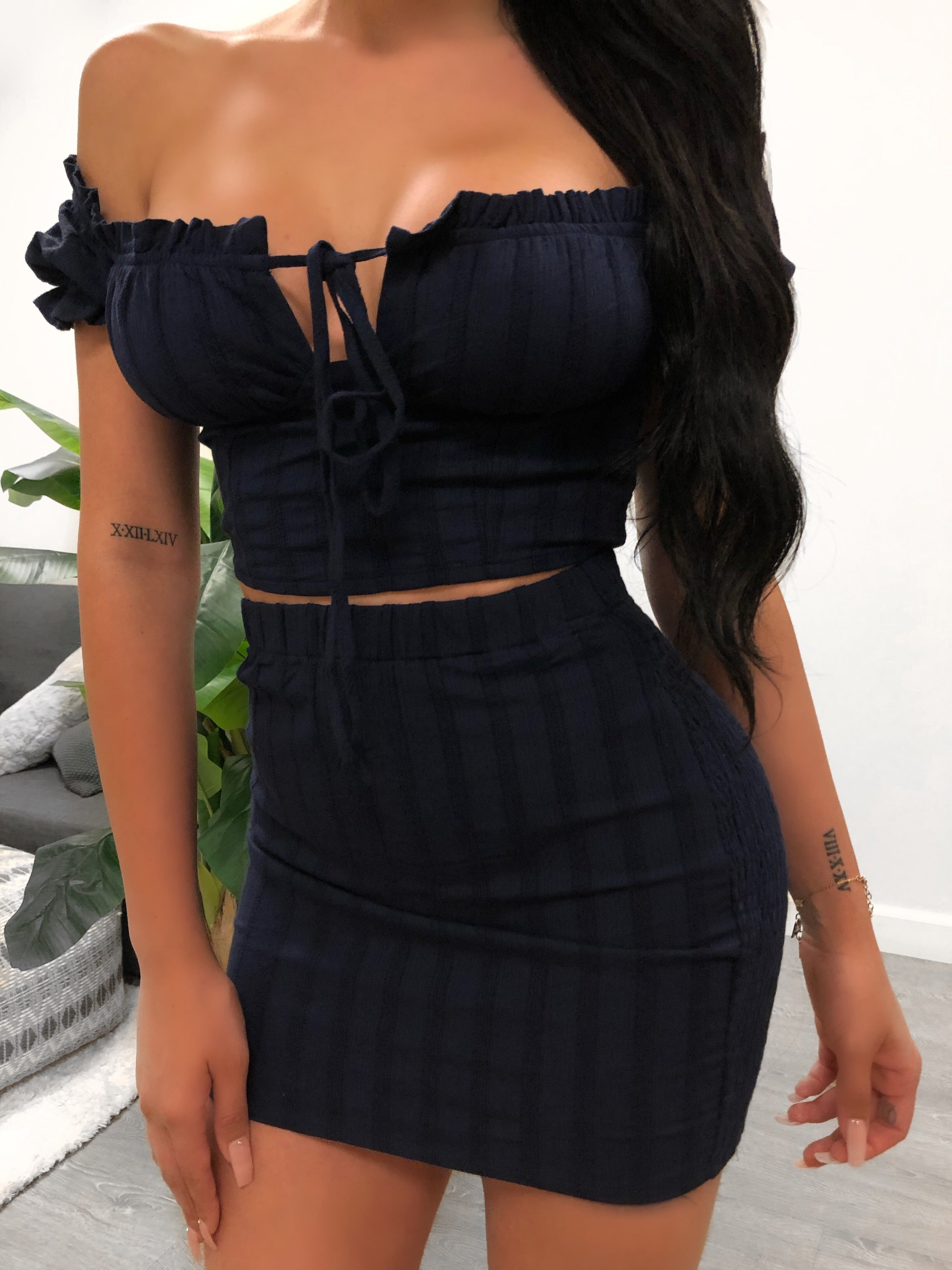 Navy blue two piece, navy blue off the shoulder top, ruffled tie top, crop tie top, navy blue mini skirt, mid thigh length