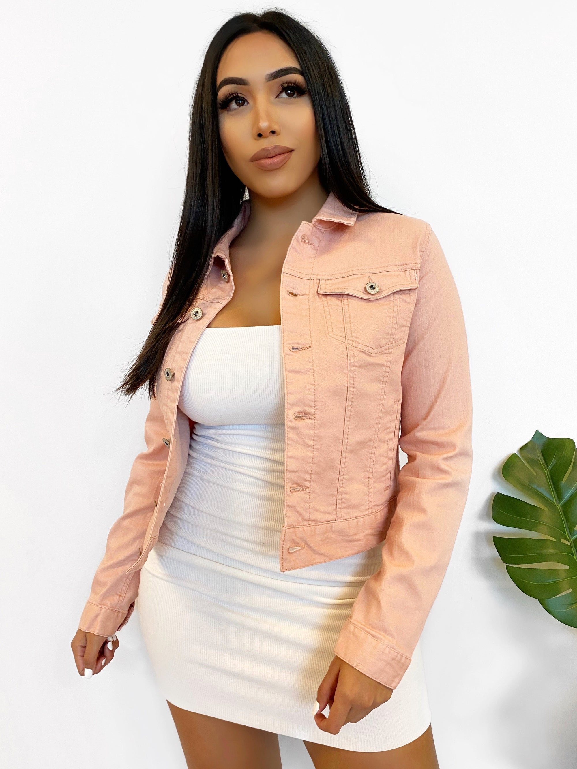 Pink denim jacket, cropped jacket, dropped shoulder