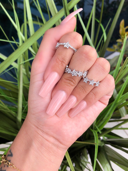 star ring set of 3, stars have rhinestone detailing