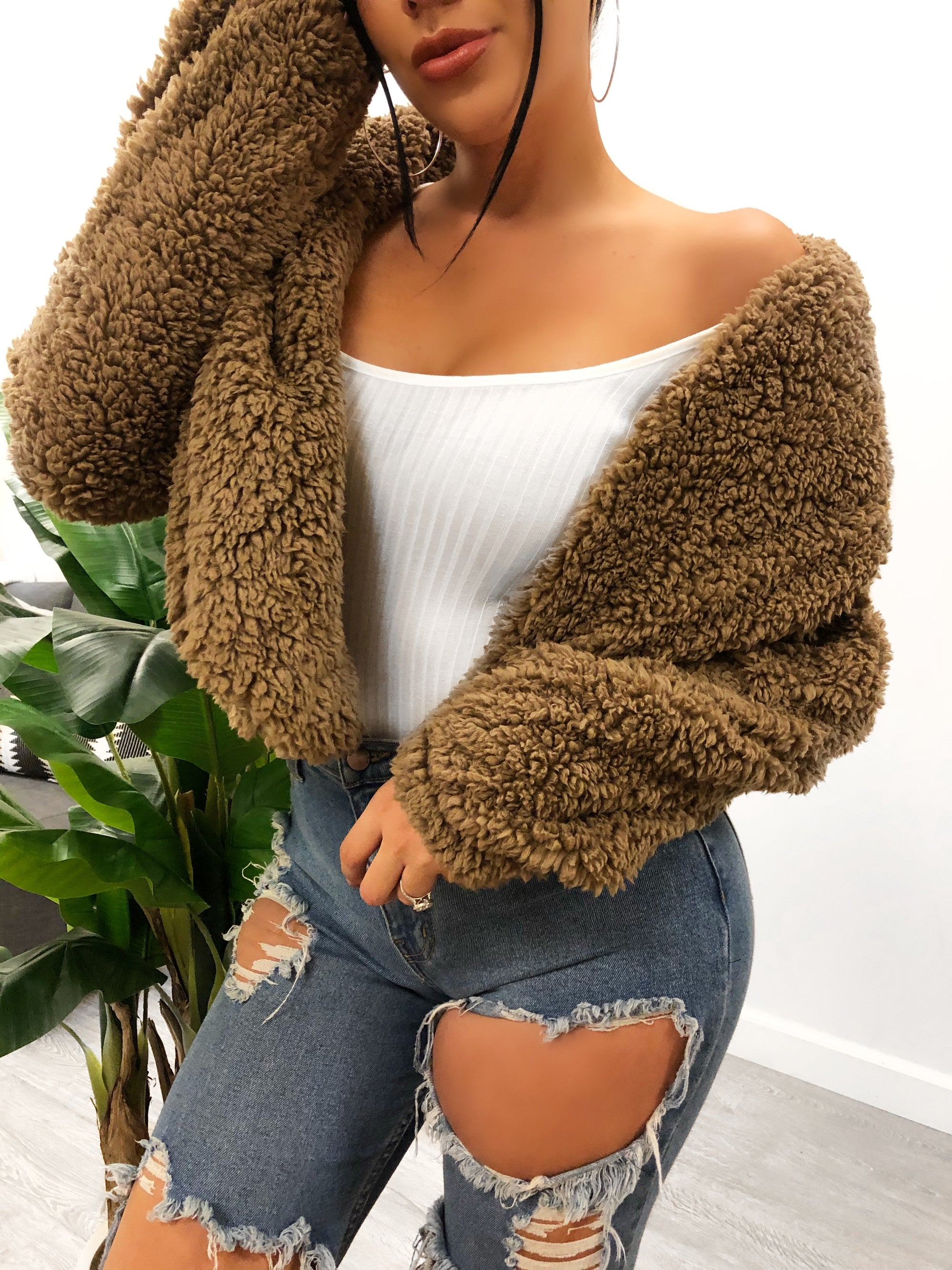 mocha teddy cardigan, off the shoulder, crop jacket