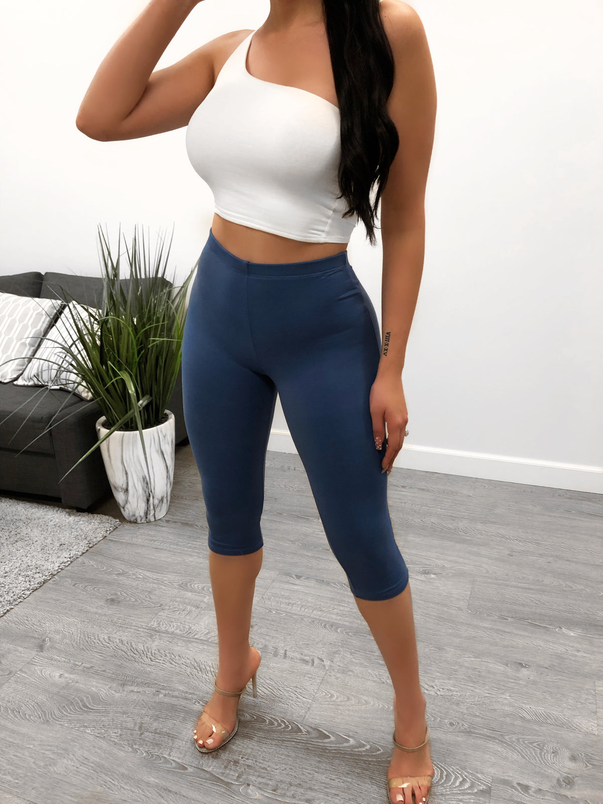 blue high waist black leggings that end under knees