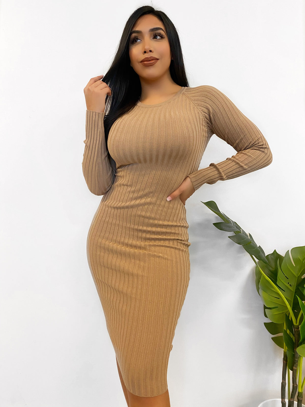 ribbed long sleeve dress, high neck, open areas on high back and above the waistline on the back, tight fit, stretchy material, length to below the knee, color is taupe.