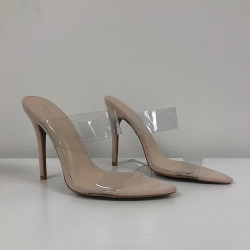 clear slip on heel, stiletto heel, clear strap