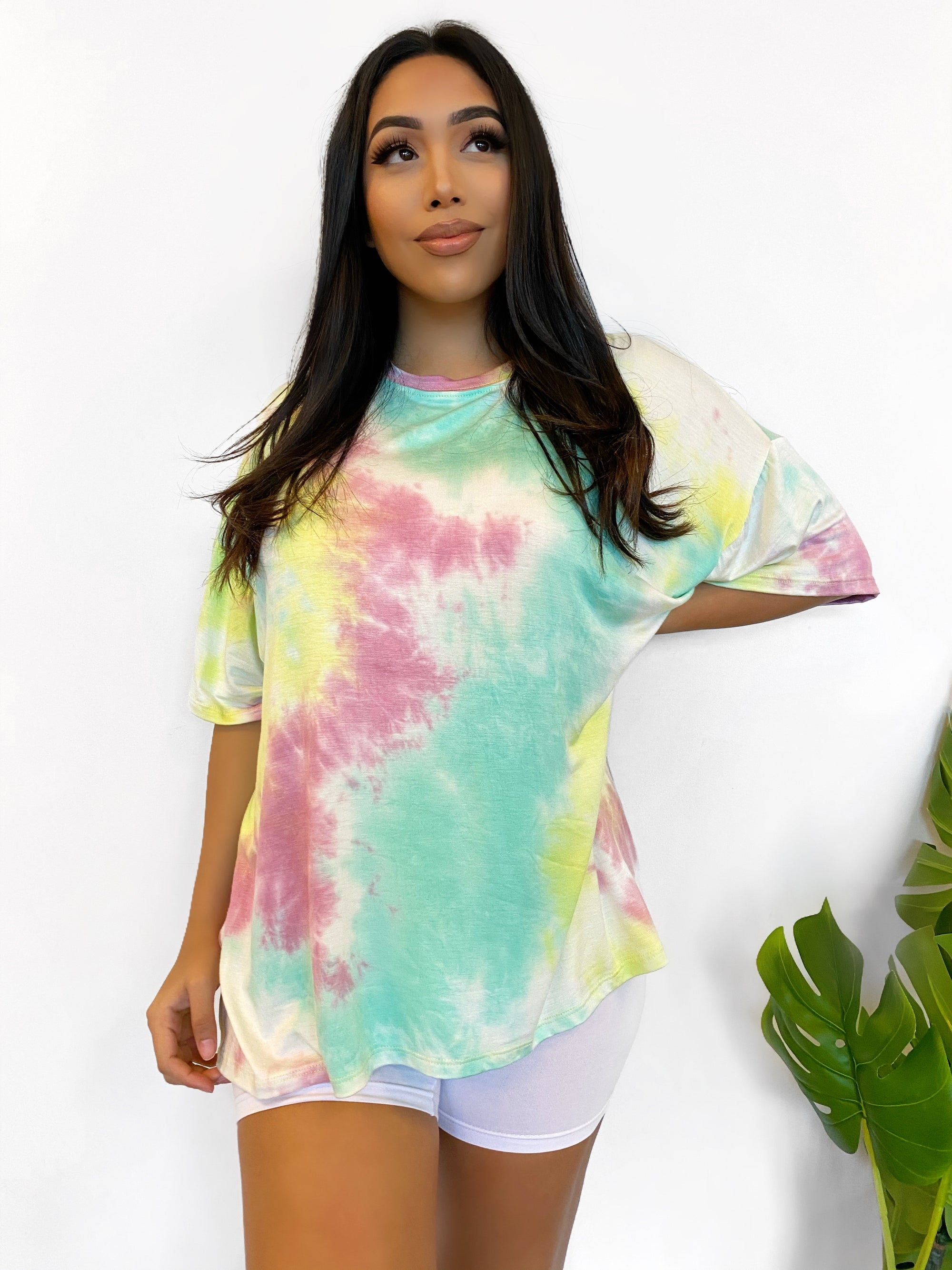 mint/yellow tie dye oversized shirt, short sleeve, scoop neckline