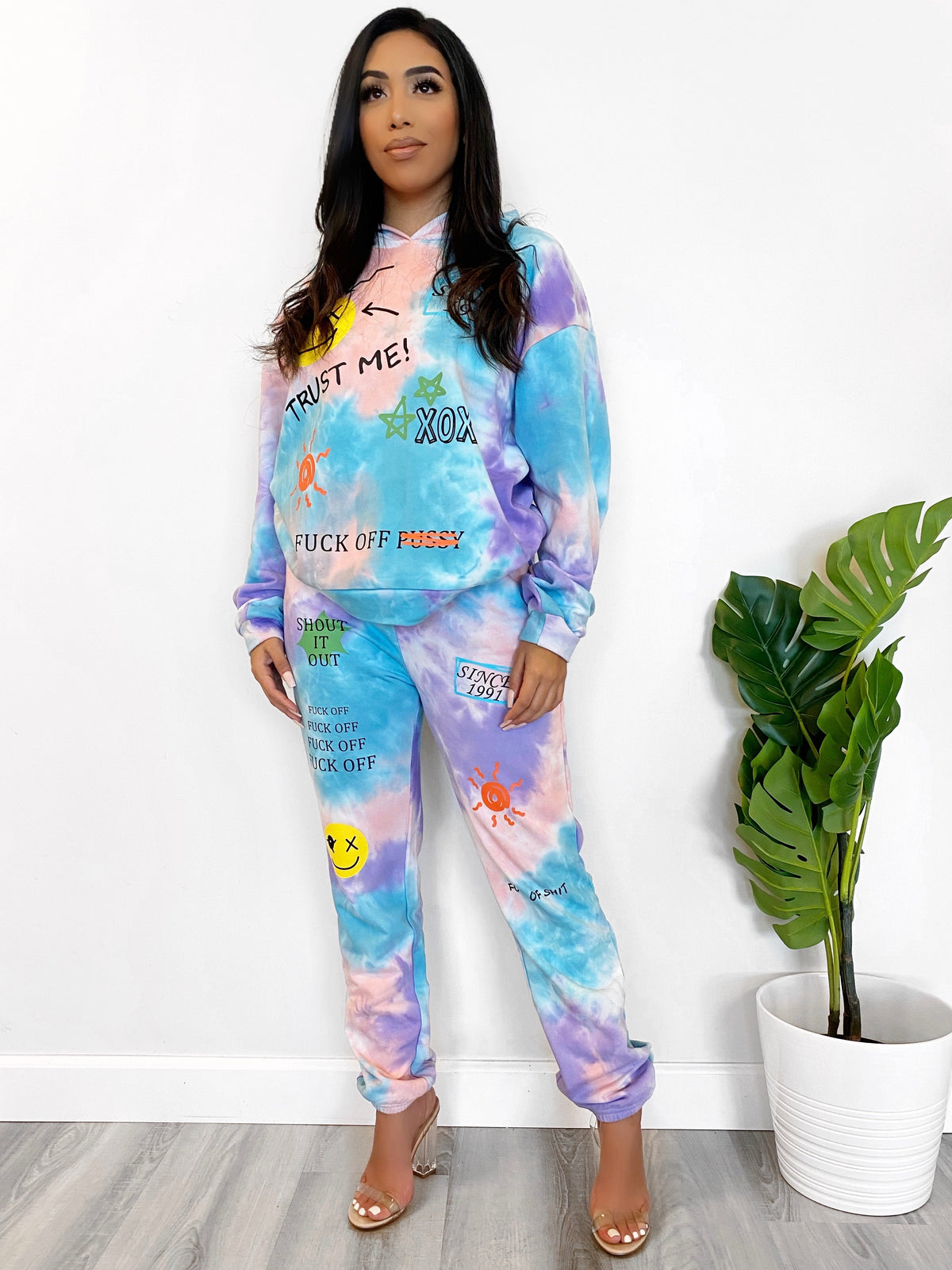 multi colored tie dye 2 piece, graphic prints, oversize hoodie, high waist joggers