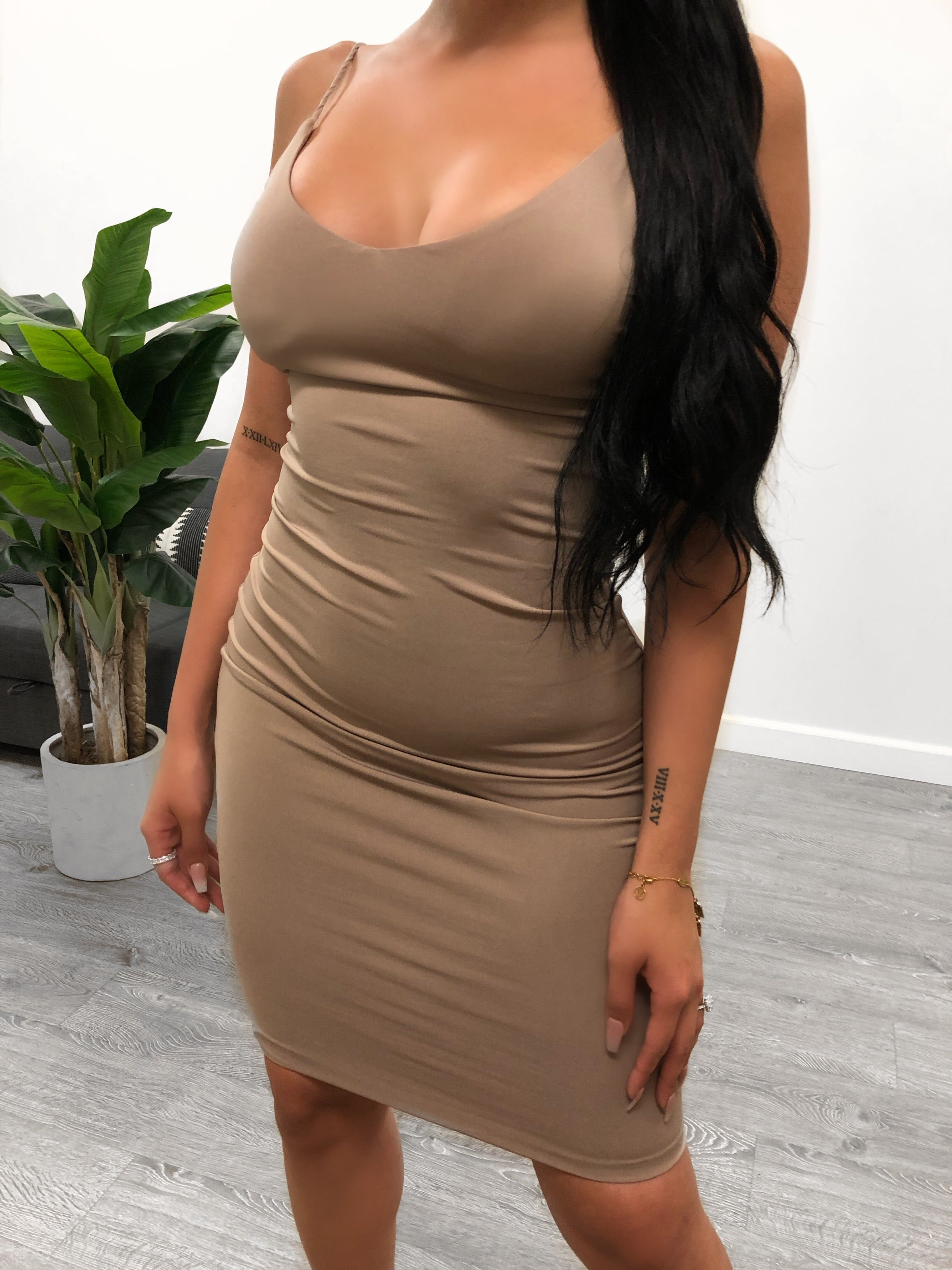 nude Cami Dress, spaghetti dress with adjsutable straps. Dress is over the knee on 5'7 model. Double layered. Dress comes in multiple colors.