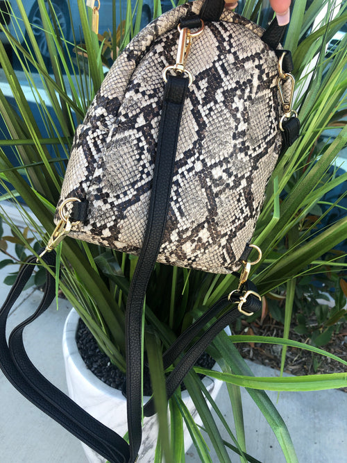 Karla Mini Snake Backpack (brown)