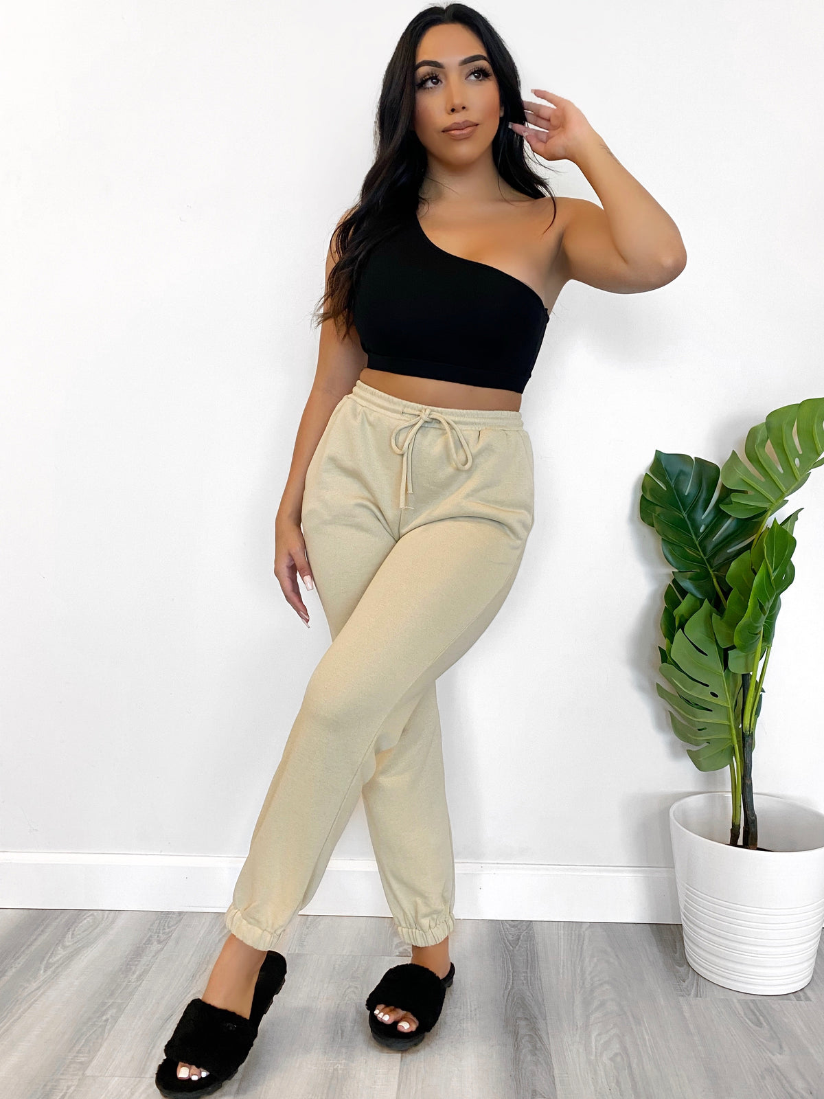 tan joggers, high waist, drawstring, 2 front pockets, loose fit