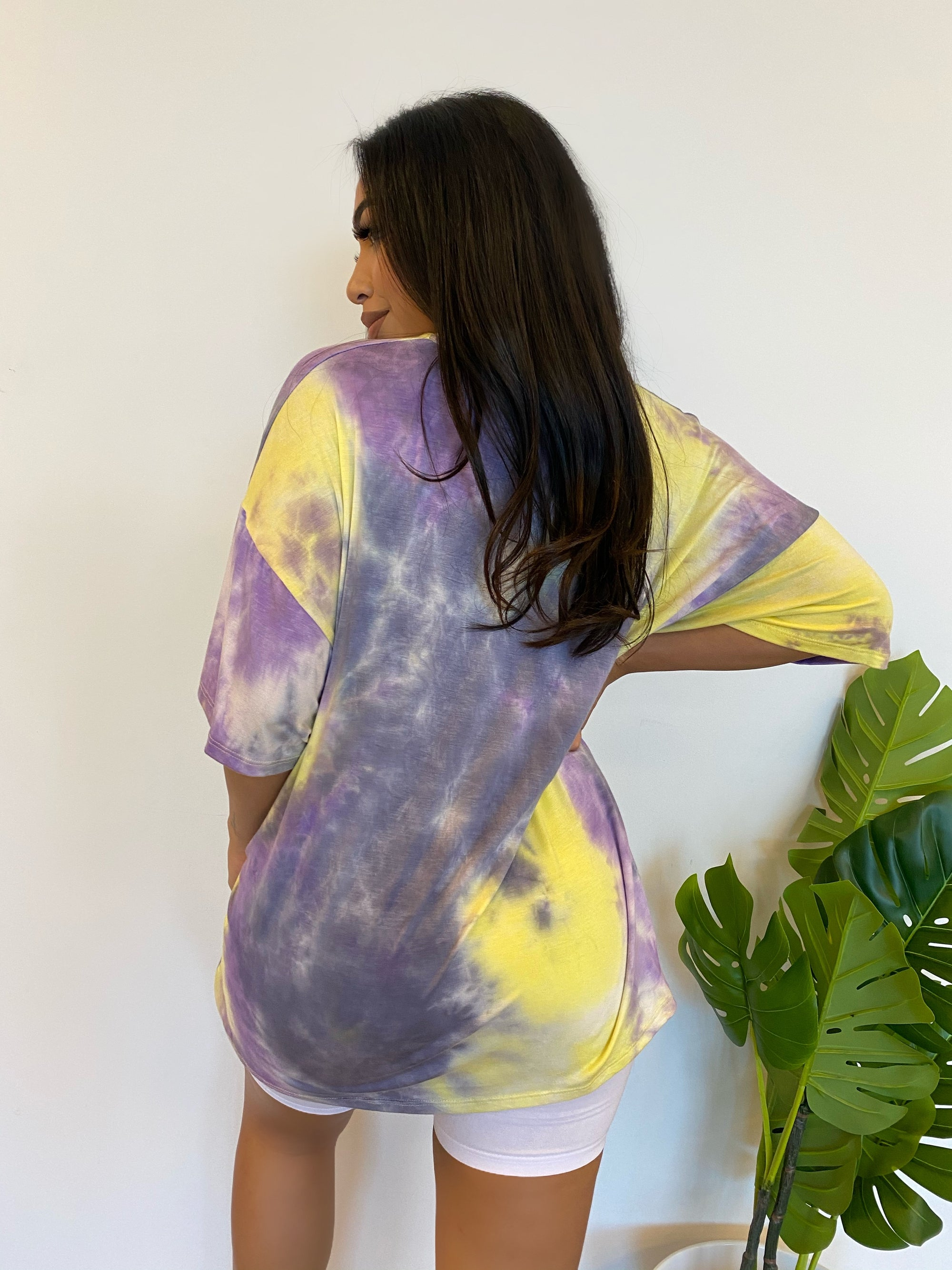 lavender/ yellow oversized shirt, short sleeve, scoop neckline