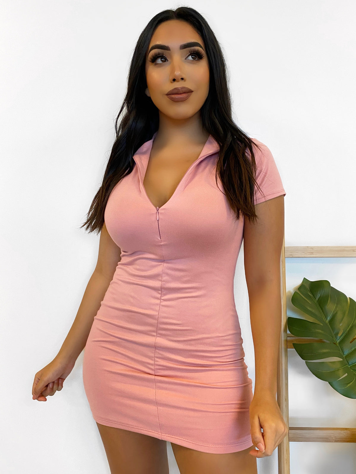 pink collar mini dress, front zipper, double lined, mid thigh length, short sleeve dress