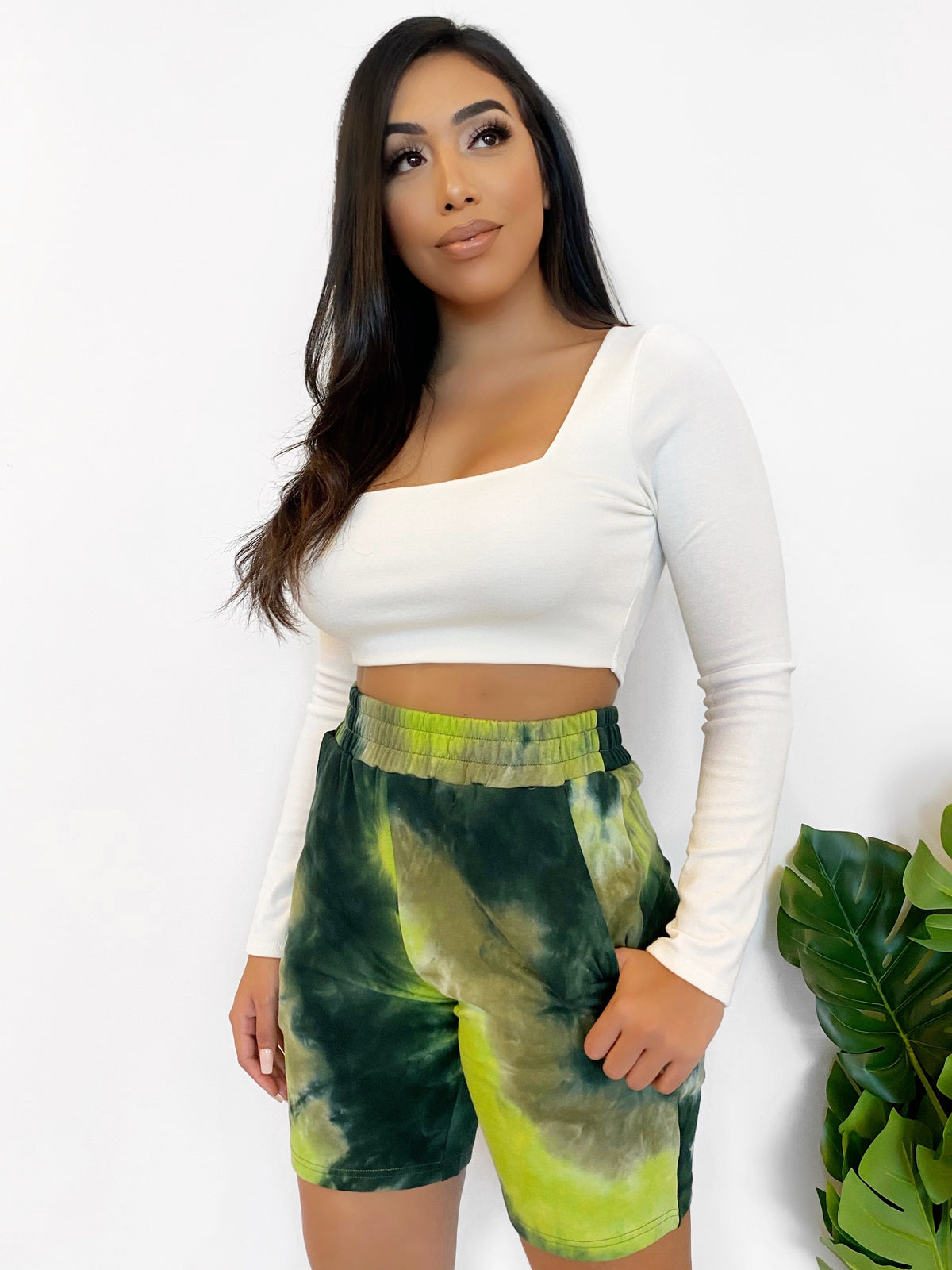 olive tie dye shorts, above the knee length, high waist, 2 front pockets