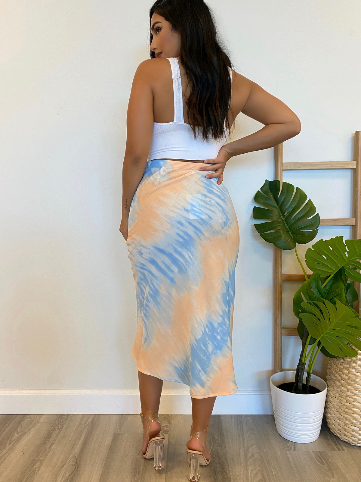 tie dye maxi skirt, high waist skirt, silk skirt