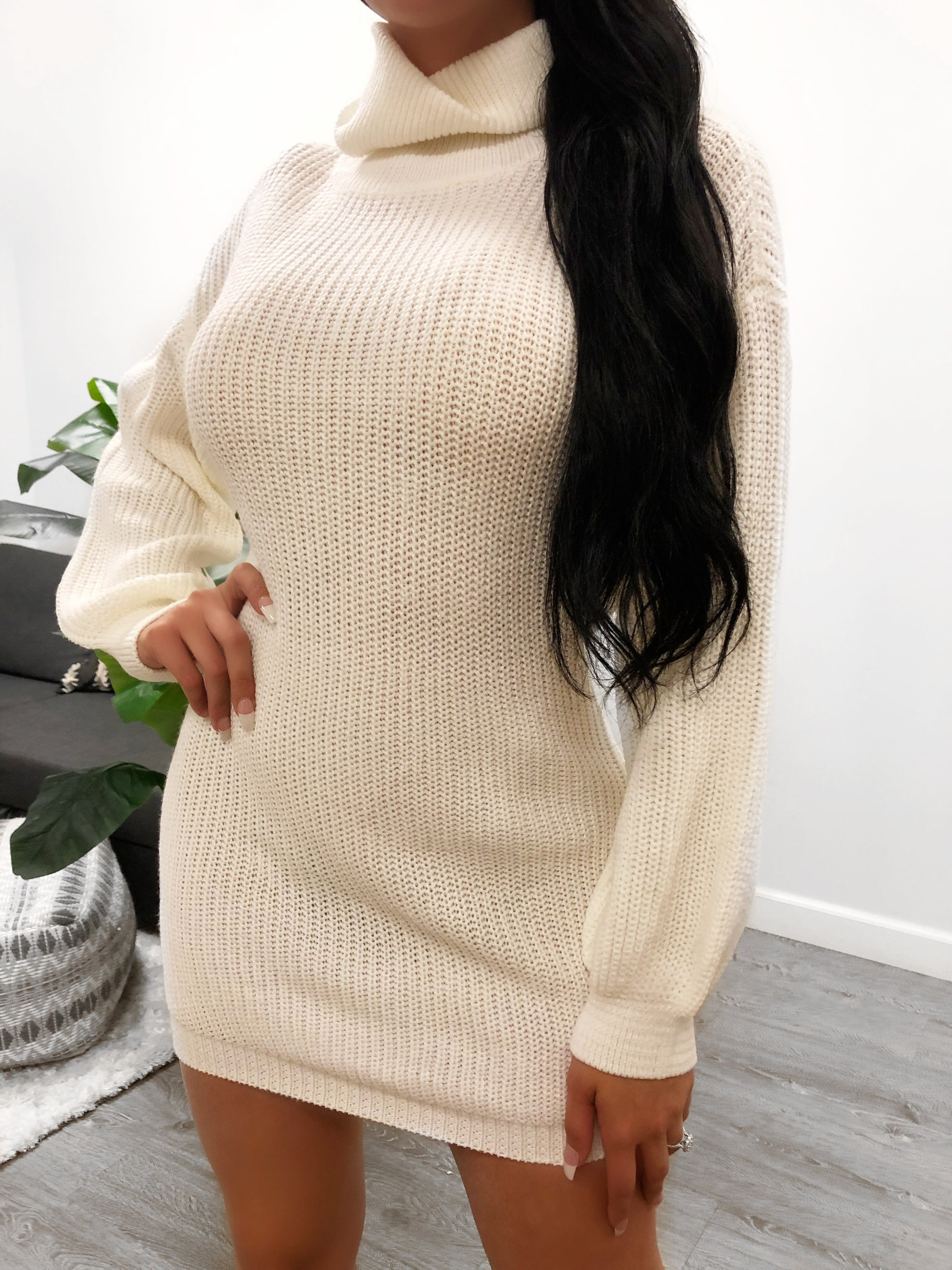 turtleneck top, long sleeves dress, length to mid thigh. loose fitting
