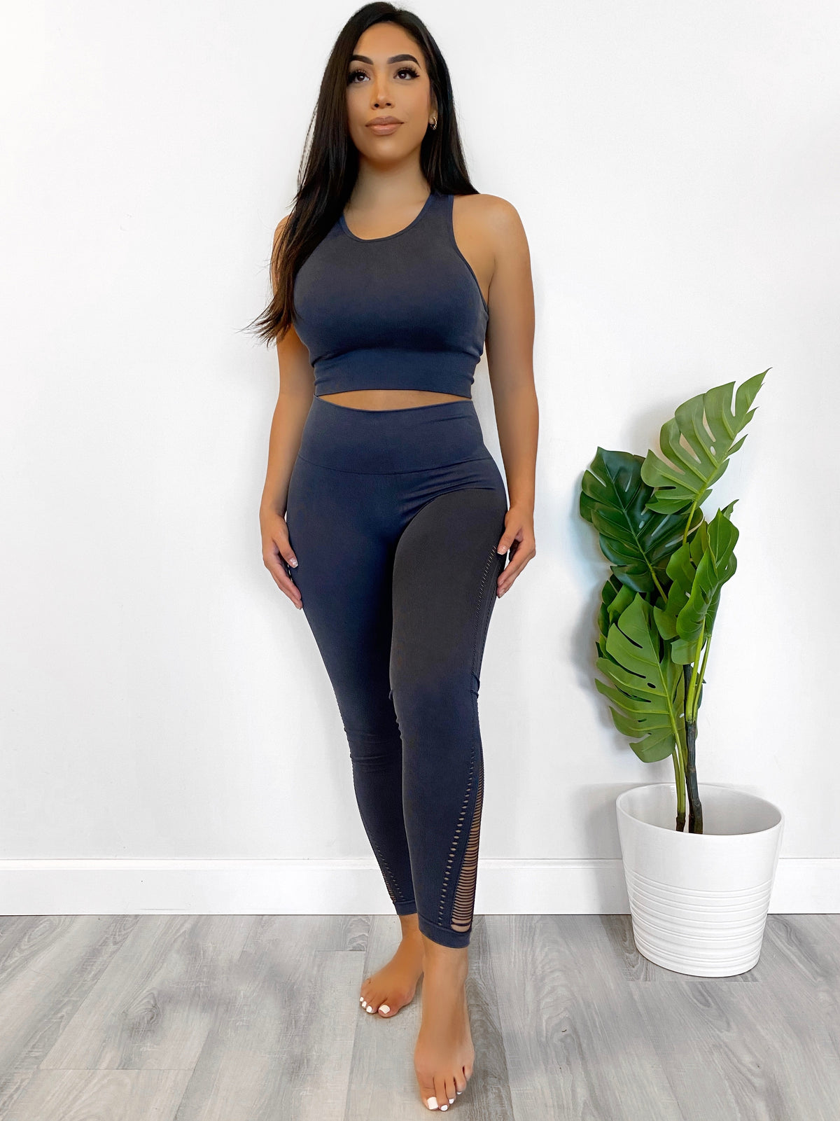 grey spandex 2 piece, sports bra, high waist leggings, cut outs on side