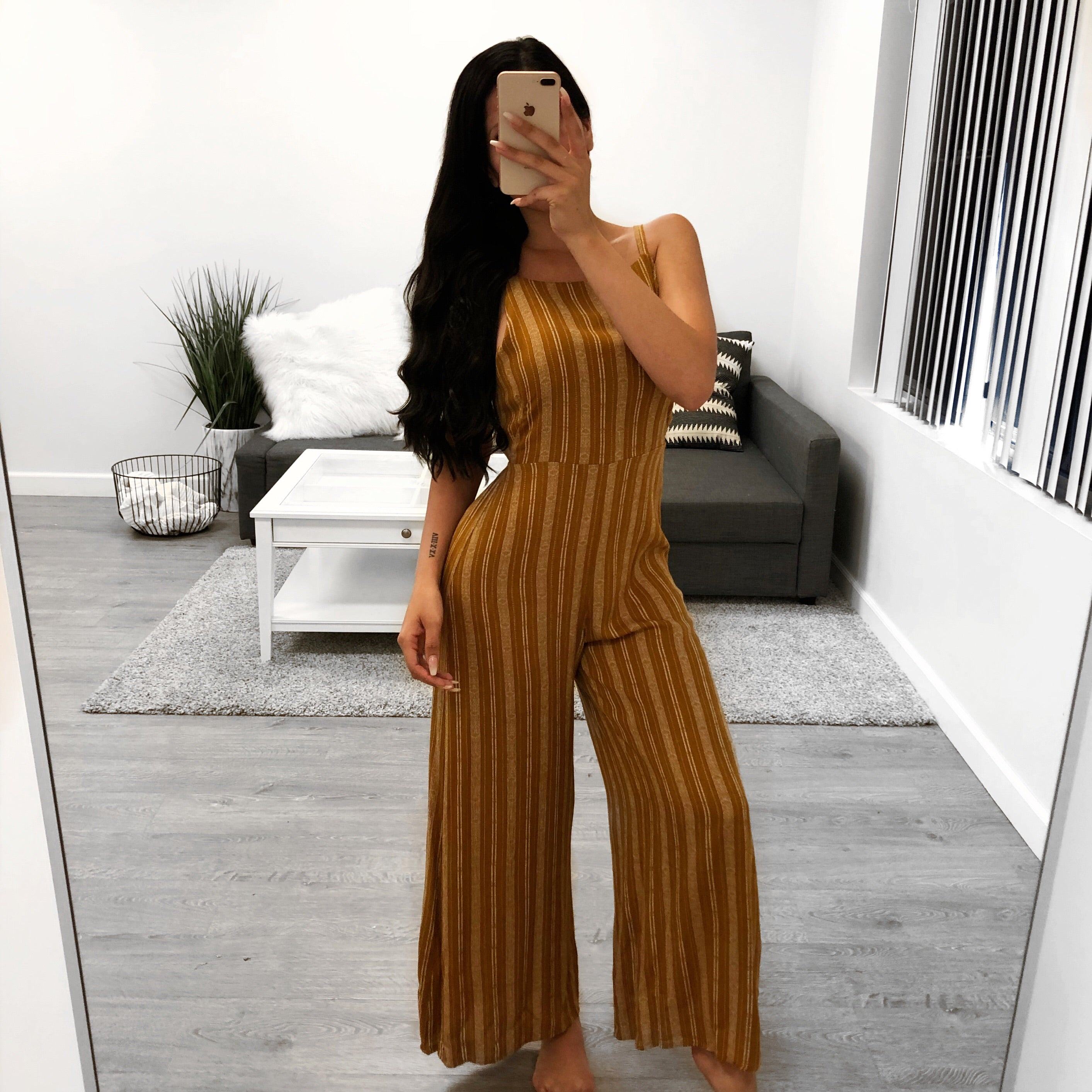 high neck stripped jumpsuit, mustard and white halter jumpsuit, tie back, spaghetti strap