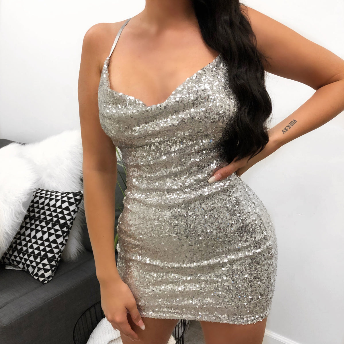 silver sequence dress, criss cross back, mini dress, scoop neck, strappy dress