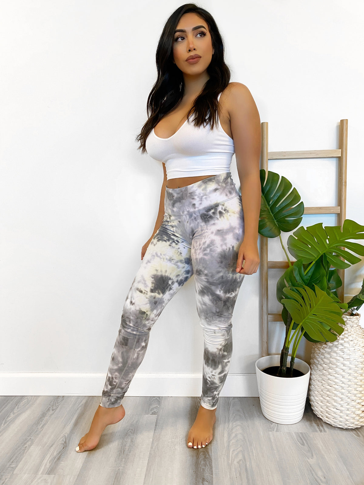 high waist leggings, yellow/grey, workout leggings