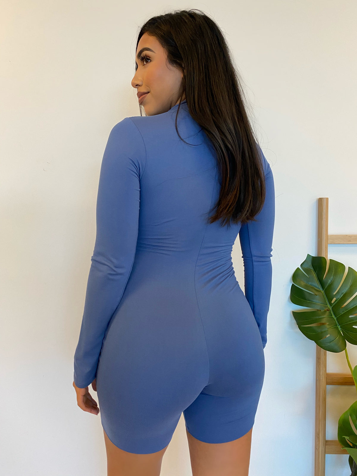 blue long sleeve romper, front zipper, collar romper, spandex, double lined