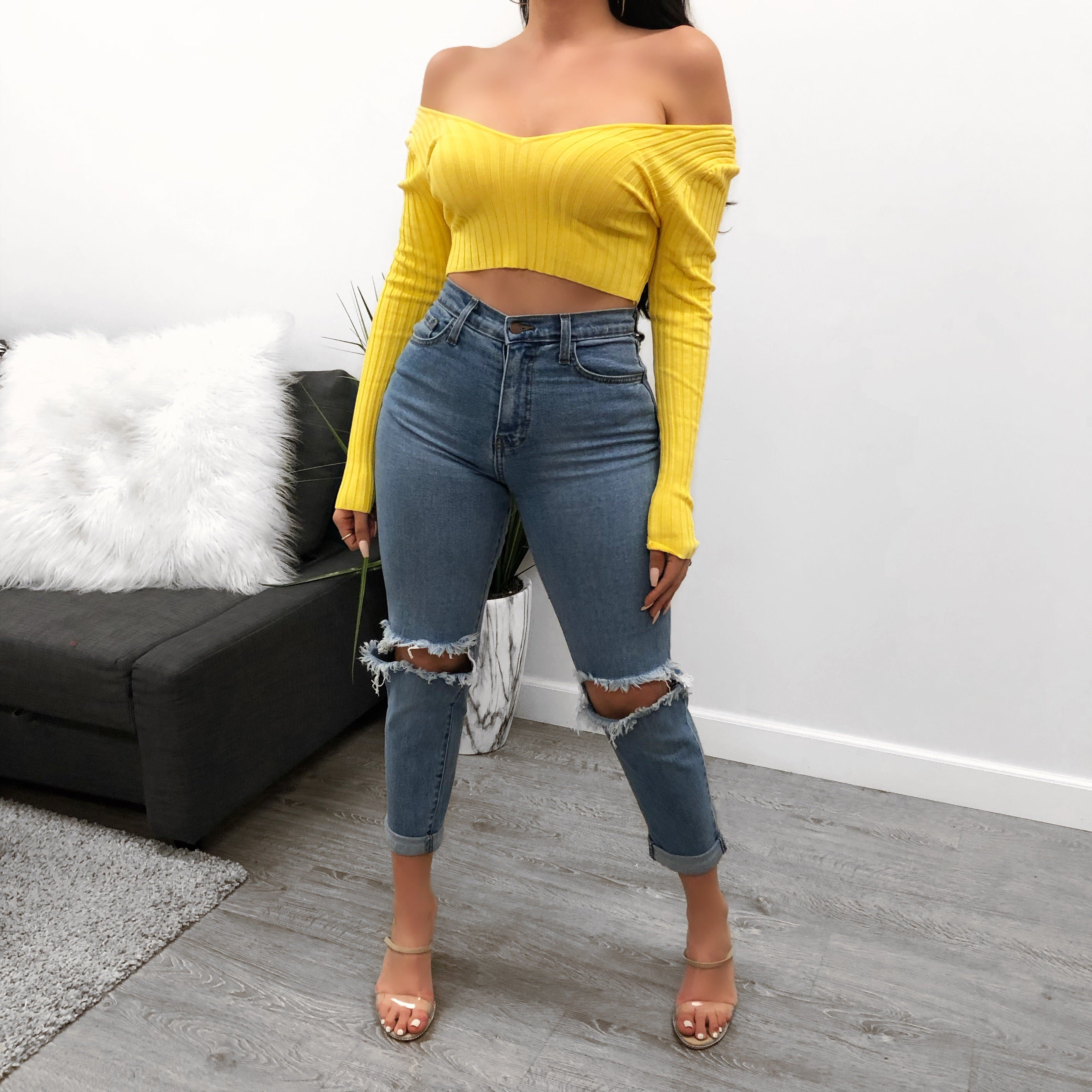 long sleeve, yellow, crop top off the shoulder