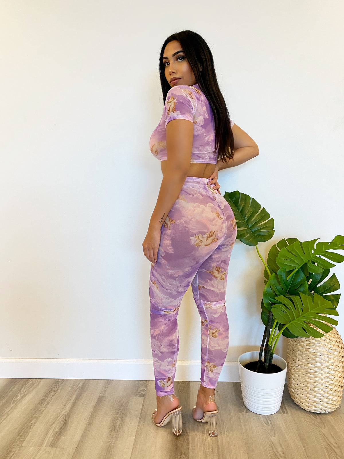 purple angel print 2 piece, mesh leggings, mesh crop top, see through