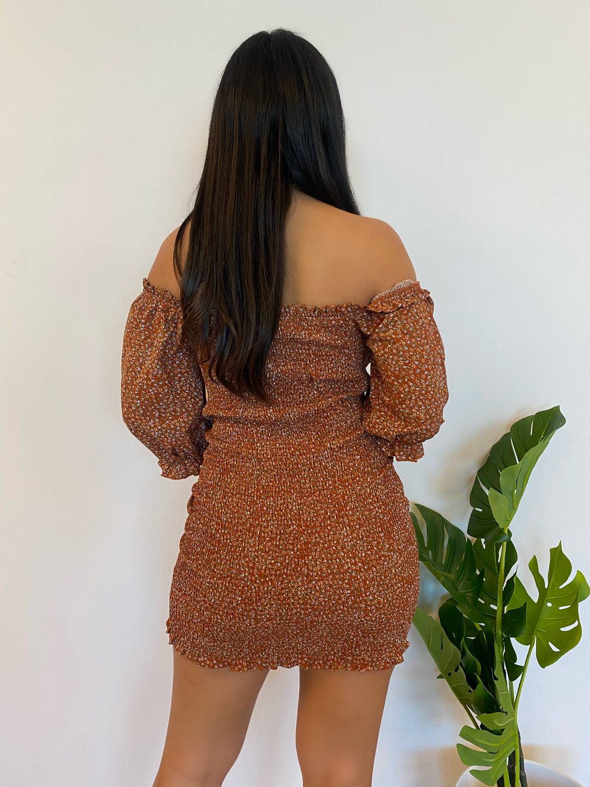 Julianna Flower Dress (Rust)