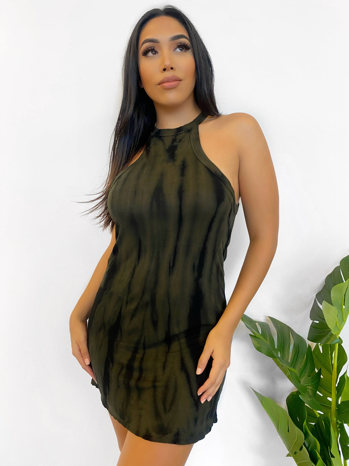 Shaylee Tie Dye Dress (Green/Black)