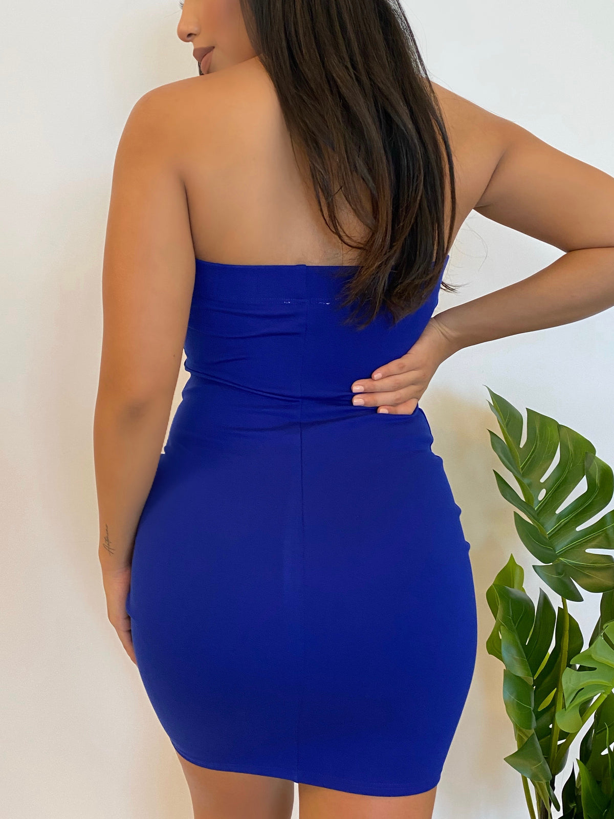 royal tube dress, strapless, mid thigh length, double layer