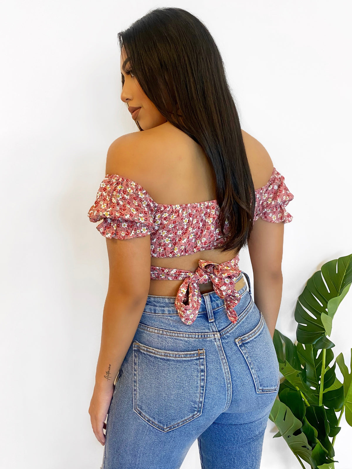 Naomi Flower Crop Top (Rose)