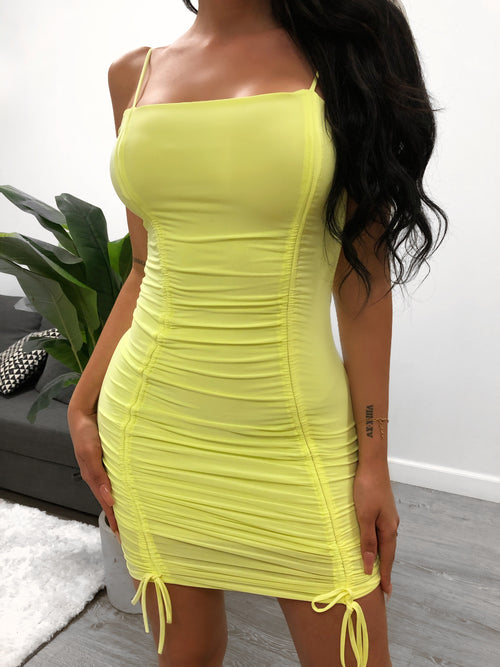 neon yellow mini dress, spaghetti strap, scrunch, ties, square neck