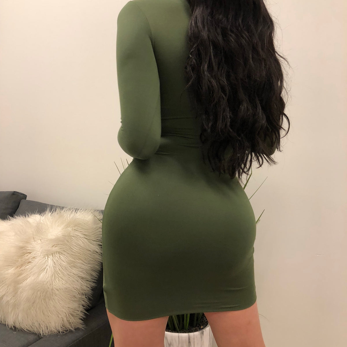 Kim K Long Sleeve Dress (olive)