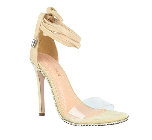 Nude heel with wrap around detail and clear strap around toes.