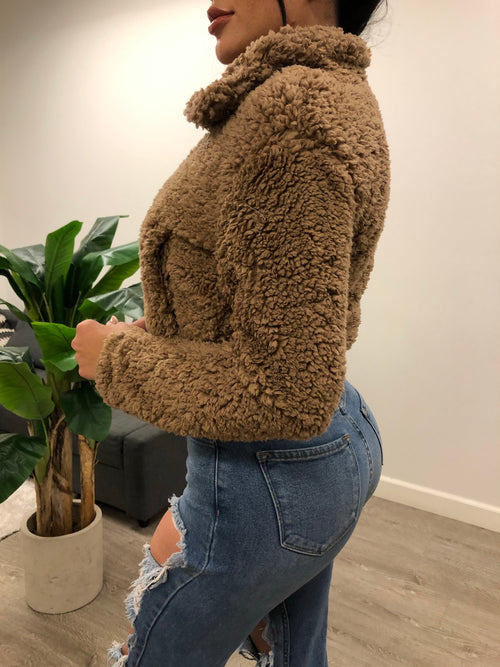 teddy bear jacket with zipper . polyester jacket with two jaw strings In the front , perfect with denim jeans comes in 3 colors.