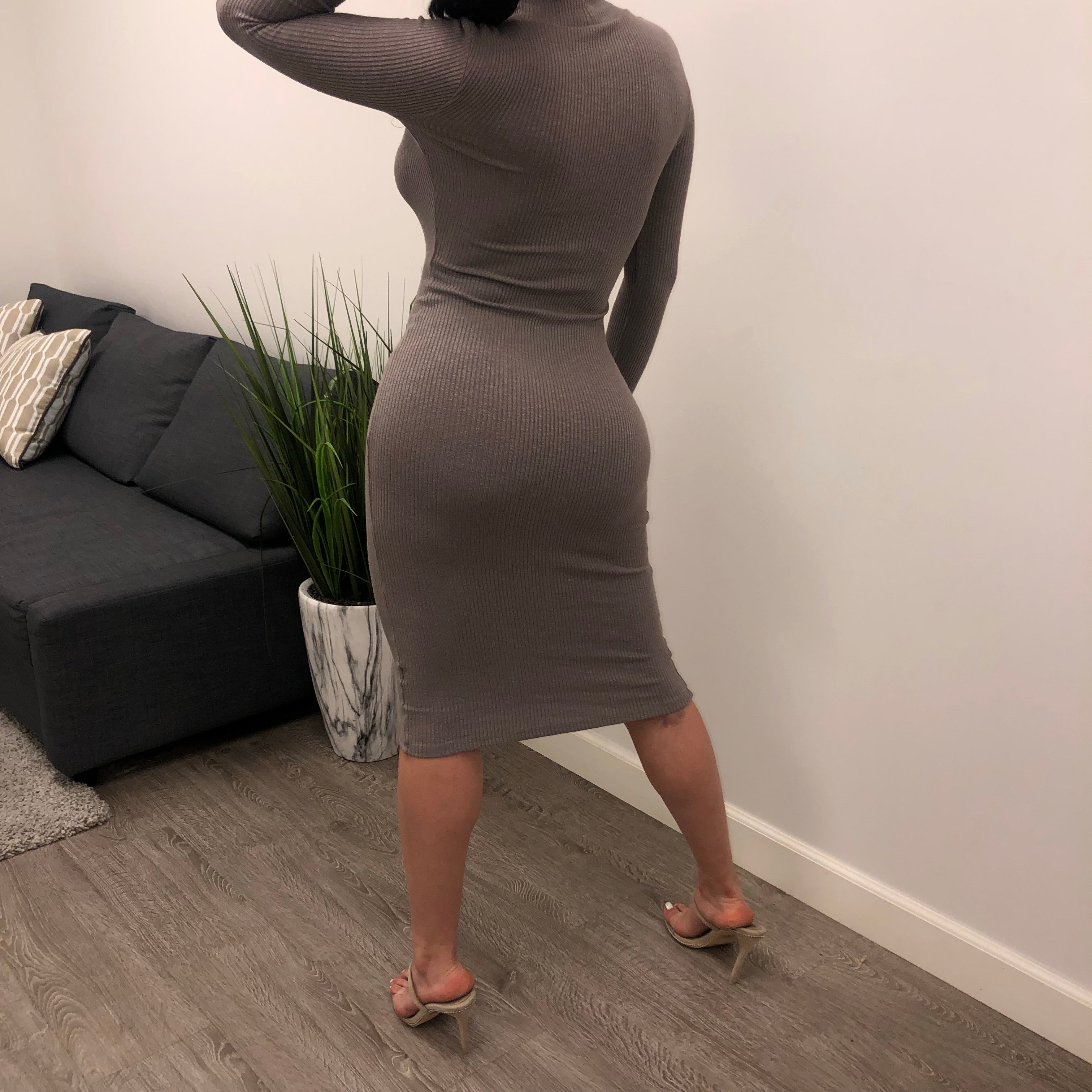 Kehlani Turtleneck Dress (taupe)