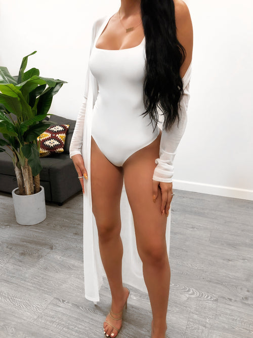 mesh cover up, long sleeve, white, above the ankle length