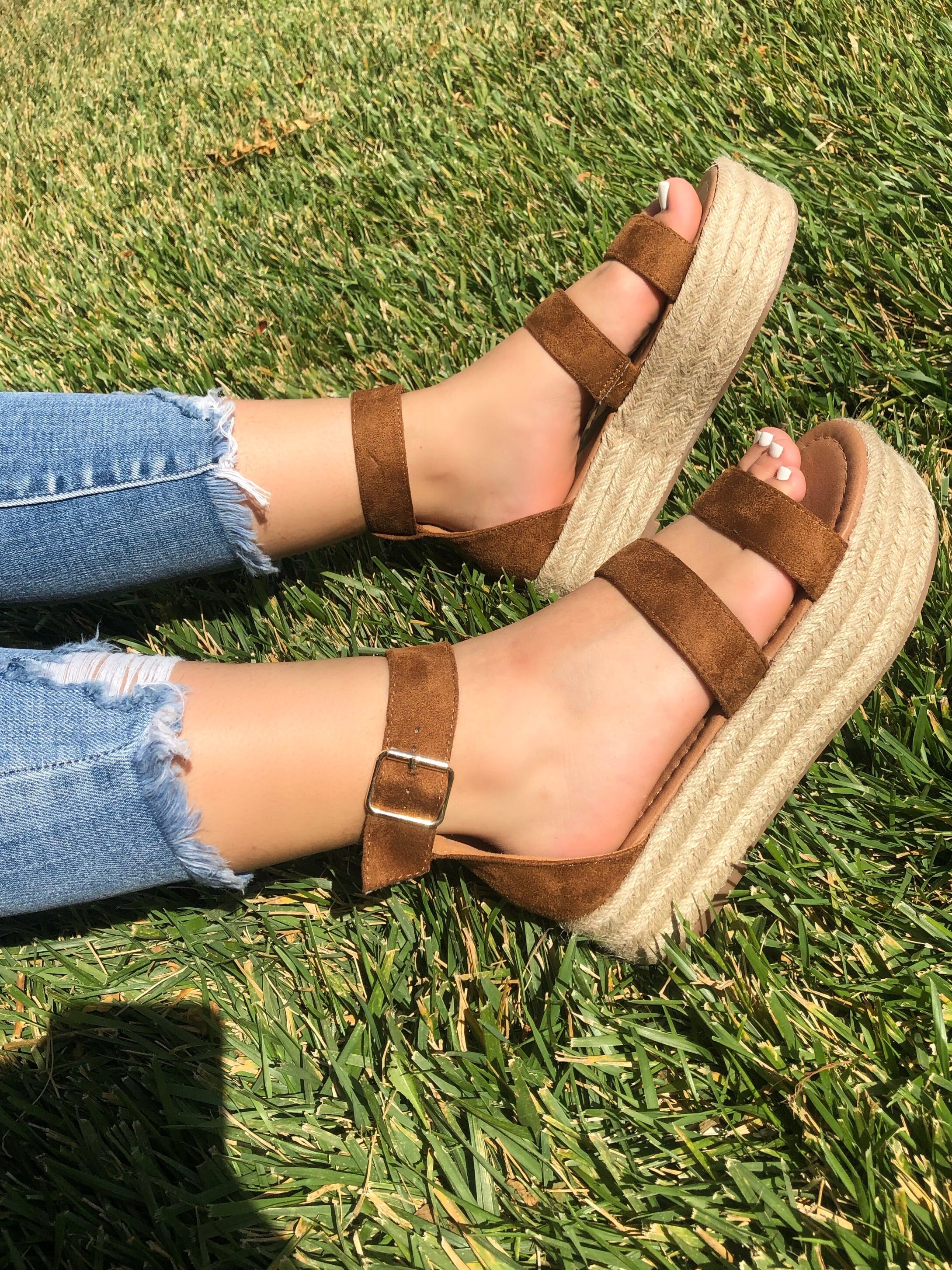 tan platform sandals, double strap, suede