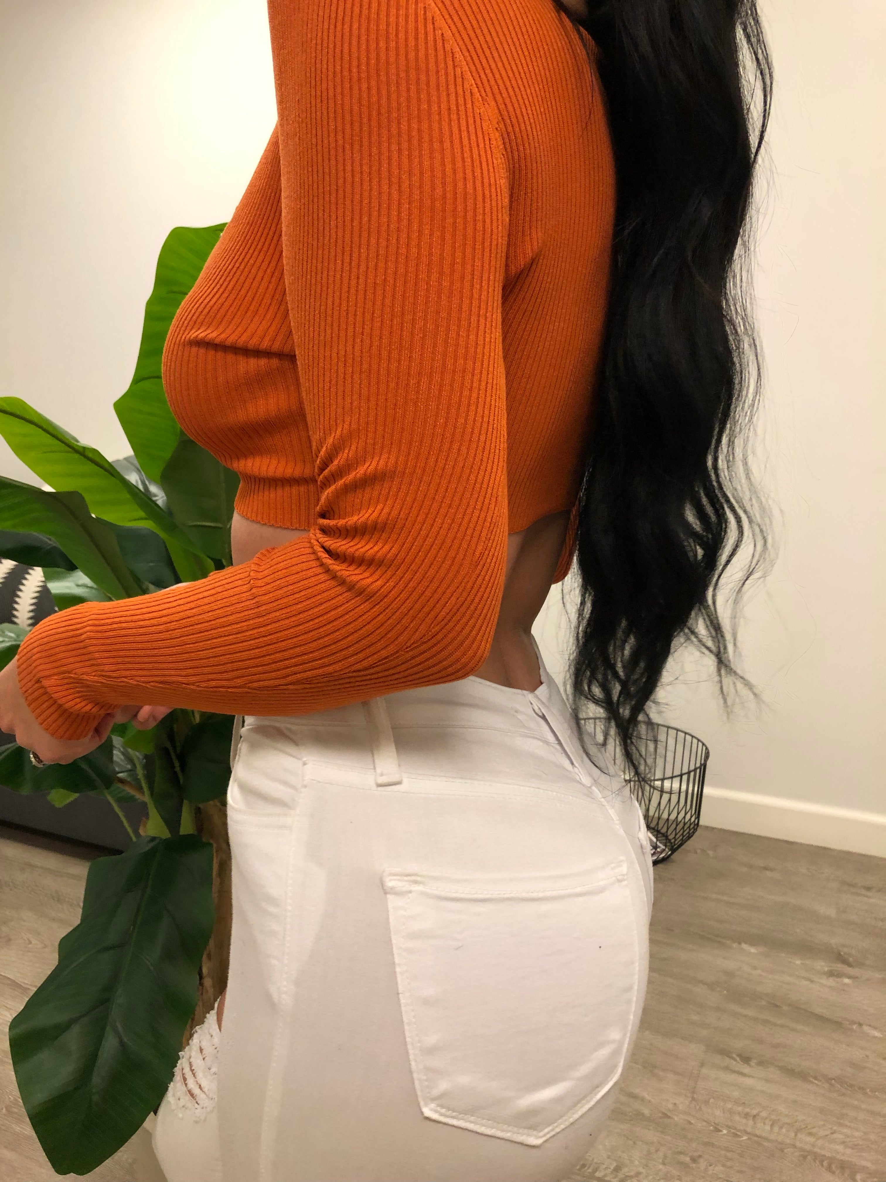 orange long sleeve crop top, has v neckline showing mid cleavage, has buttons in the front