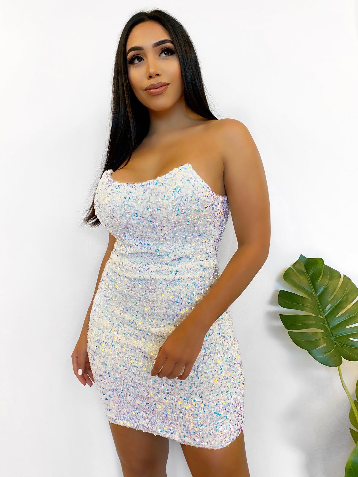 White multi short sequins dress, strapless, dry clean only, back zipper, scoop neck