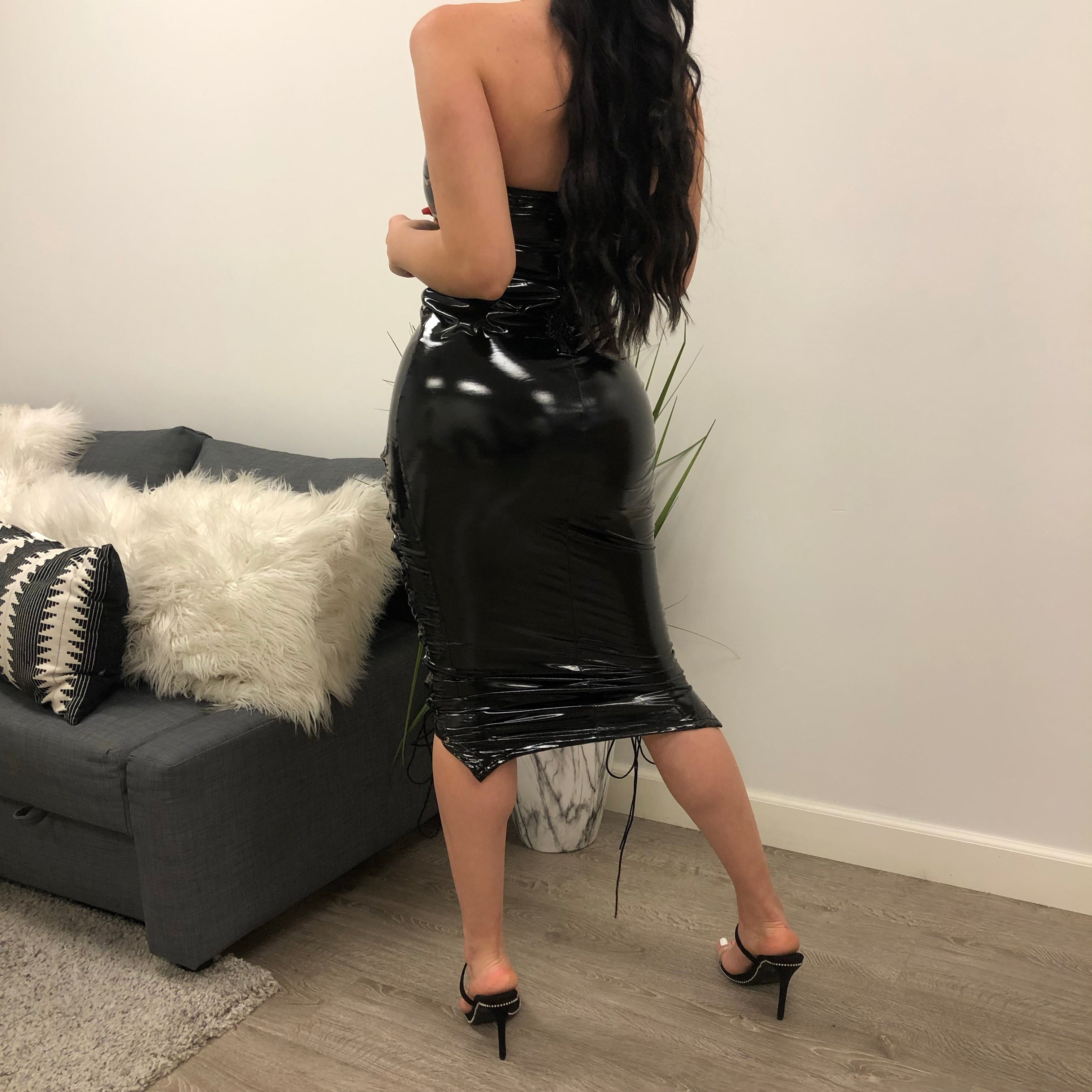 black latex dress, lace up dress, strapless, knee length