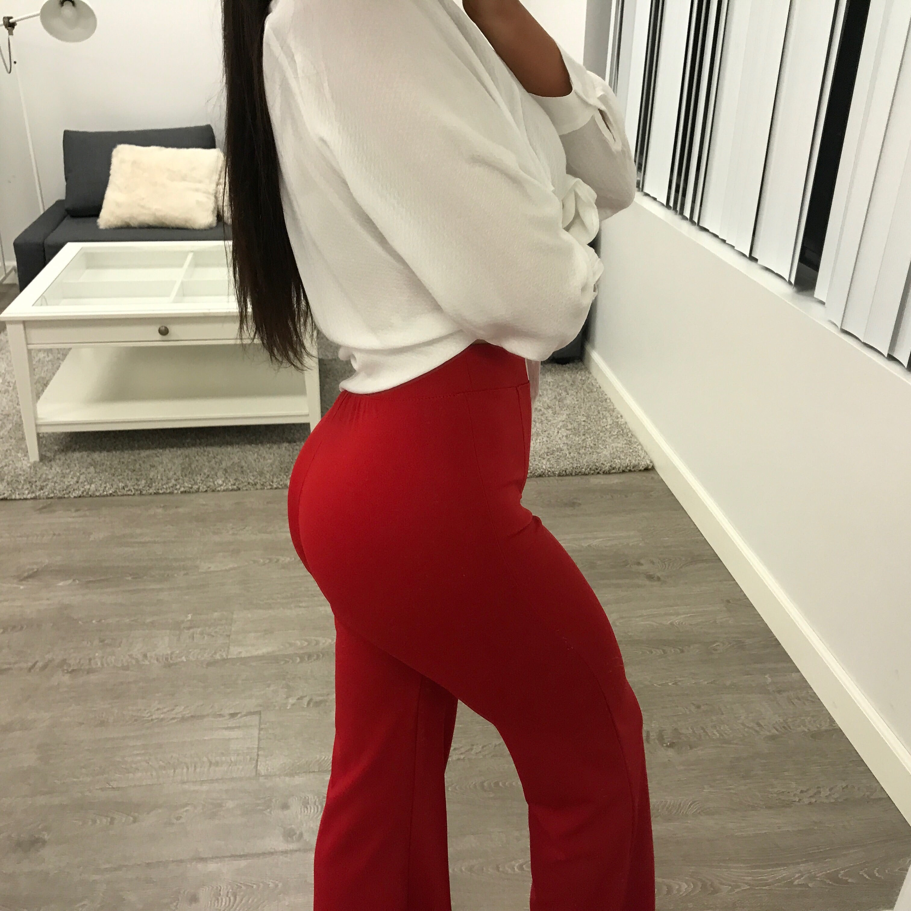 red high waist bell bottom flair