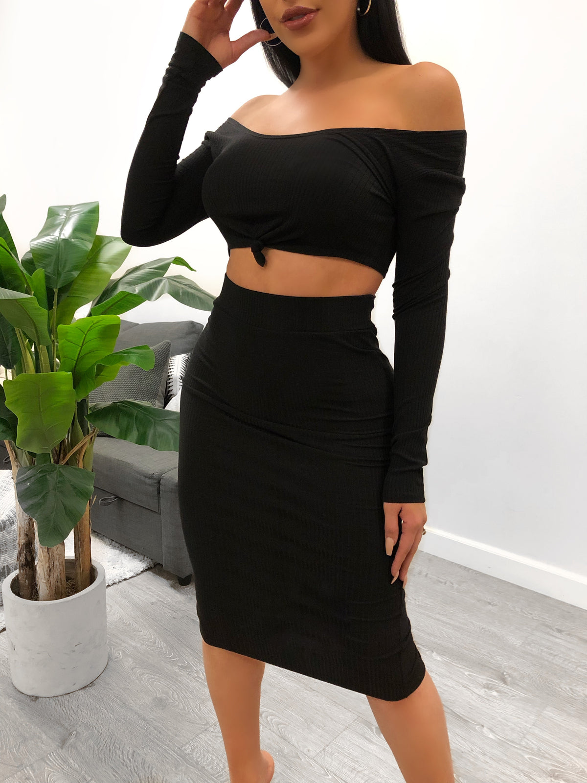 ribbed 2 piece, black 2 piece, off the shoulder, tie top, high waist skirt, midi skirt