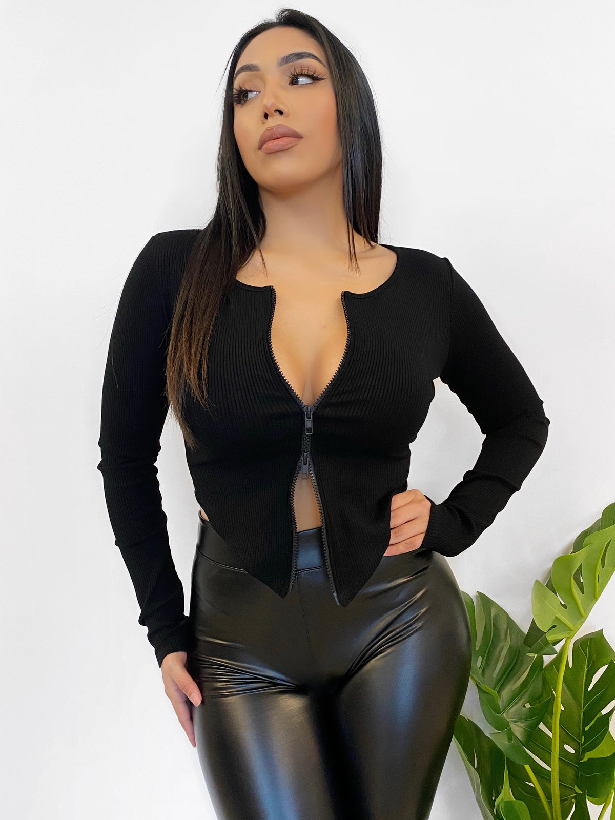 black long sleeve crop, ribbed, double zipper, v cut