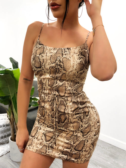Nude/tan snake print dress. Dress has adjustable spaghetti straps and is mid-thigh length. Has a thin strap to knot-tie around the waist.
