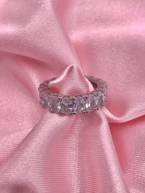 silver diamond ring. sterling silver, size 7