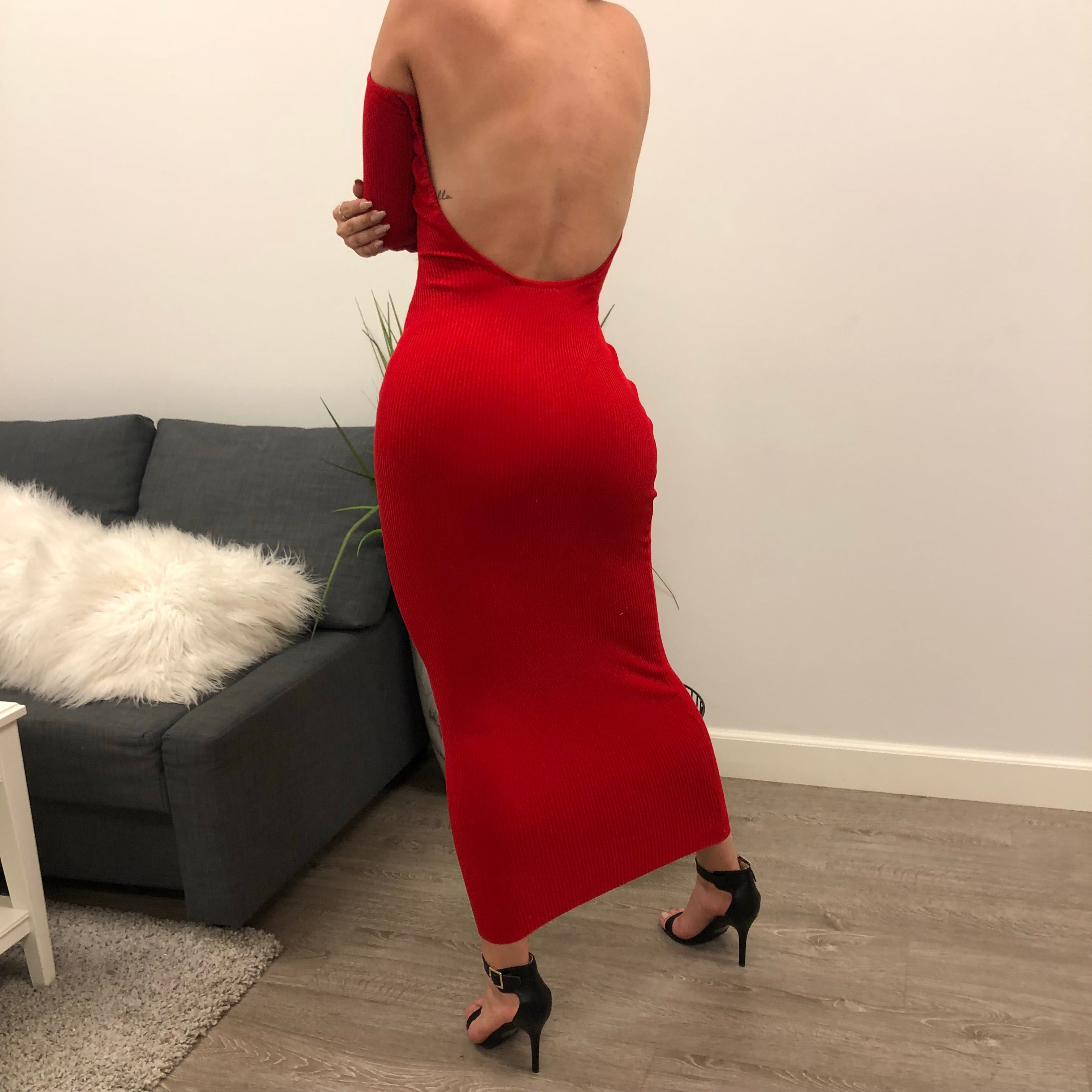 red strapless long sleeve tight dress. low u cut back. dress length is to ankles.