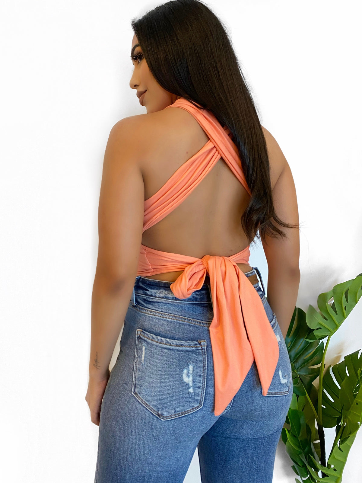 peach crop top, backless, self tie, high neck, above the belly button length