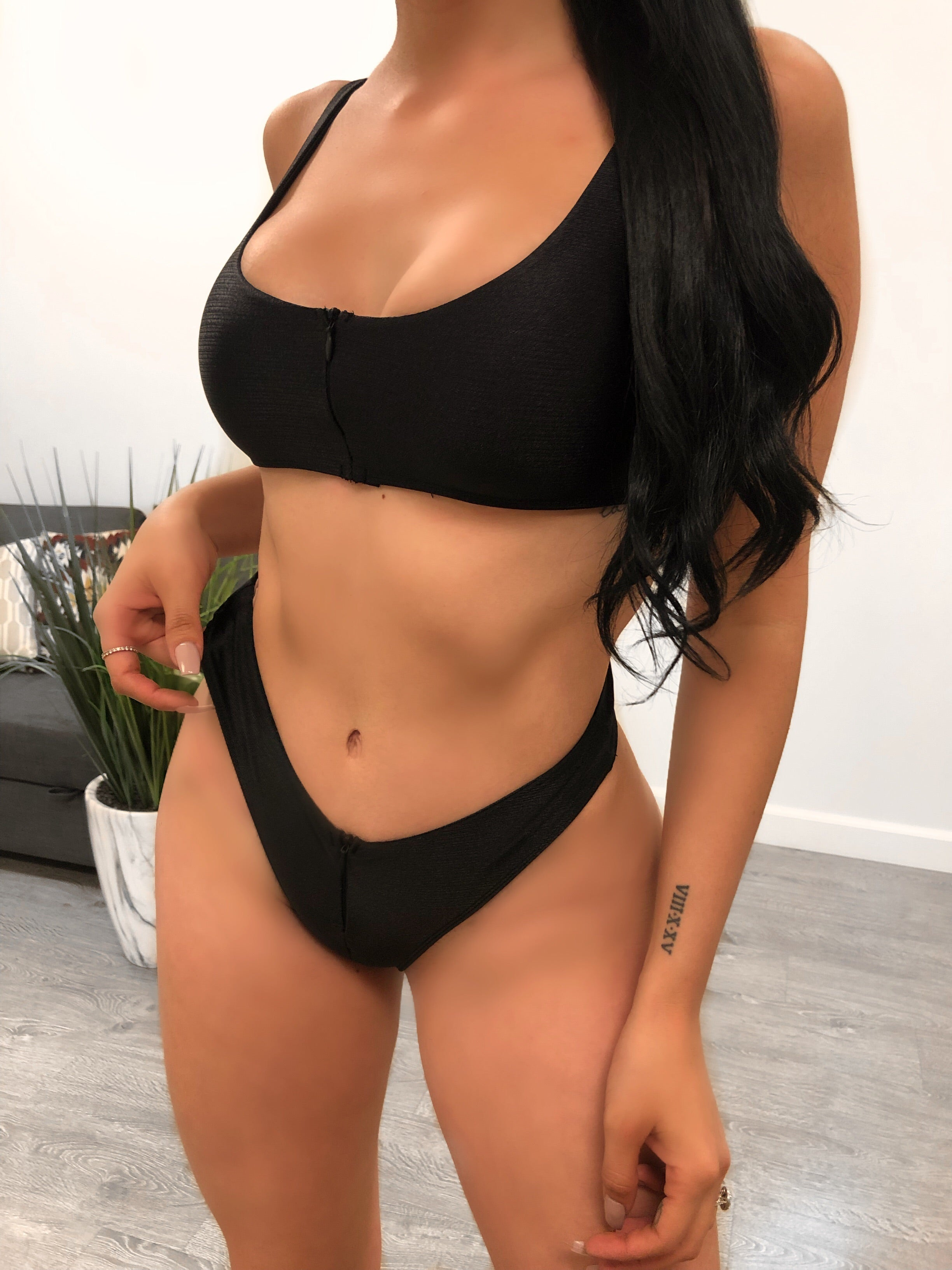 2 piece black bathing suit, low rise, cheeky, zipper